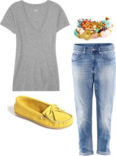 Laid-Back Style #springfashion #casualchic  the yellow loafers are definently the best part of this entire outfit