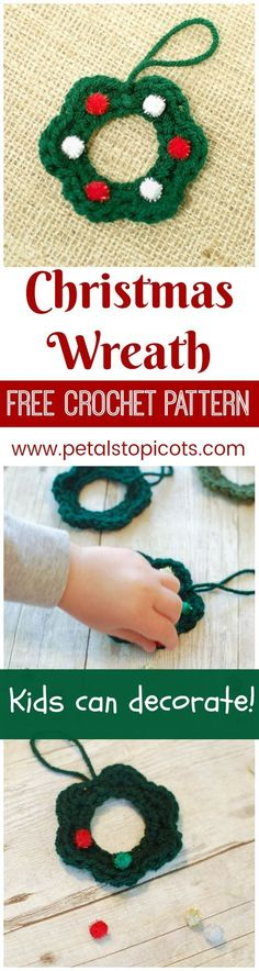 These little crochet wreaths are such a quick and easy project and are a great opportunity to get the kids involved in holiday crafting and gift giving. You crochet 'em up and let the kids take it from there! #petalstopicots