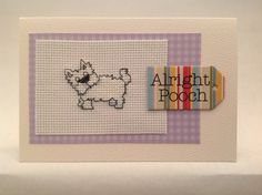 Hand made Scottie dog cross stitch card by PosieAndMarmalades, £2.50