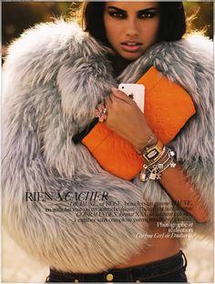 Adriana Lima, fur coat
