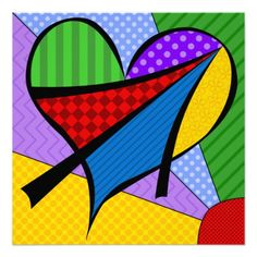 """""""Whimsical Cubism Heart"""" Greeting Card by Debi Payne Designs - Heart Painting, Pebble Painting, Graffiti Lettering Fonts, Music Drawings, Fabric Postcards, Happy Art, Arte Pop, Colorful Paintings, Rock Crafts"""