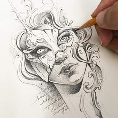Pin by lowstreet on chicano art in 2019 карандаш, эскиз, тату. Badass Drawings, Pencil Art Drawings, Art Drawings Sketches, Tattoo Sketches, Tattoo Drawings, Tattoo Ink, Character Art, Character Design, Mask Drawing