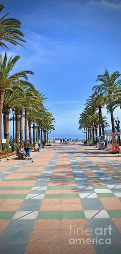 A blue sky with wispy clouds on a hot day by the Sea in Nerja, Spain. A good day to sit under the palm trees on the promenade eating gelato or strolling past playing children and gossiping grandmas. http://fineartamerica.com/featured/nerja-by-the-mediterranean-mary-machare.html