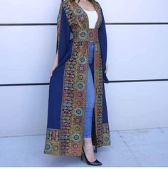 Navy Georgette Embroidered Open Abaya Kaftan Maxi Dress Long Split Sleeve - Women's style: Patterns of sustainability African Fashion Dresses, Fashion Outfits, Chic Outfits, Afghani Clothes, Abaya Mode, Afghan Dresses, Pakistani Dress Design, Abaya Fashion, Women's Fashion