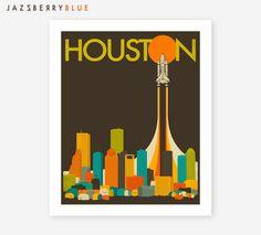 HOUSTON SKYLINE, Giclee Fine Art Print, Retro Pop Art for the home Decor by JazzberryBlue on Etsy https://www.etsy.com/listing/189992221/houston-skyline-giclee-fine-art-print