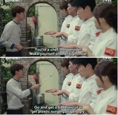 Oh My Ghostess, pretty sure the sou chef steals more scenes then they thought he would. Korean Celebrities, Korean Actors, Korean Dramas, Kwak Si Yang, Oh My Ghostess, Emergency Couple, Drama Funny, Korean Shows, Park Bo Young