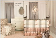 Soft and feminine, Alexa's baby girl nursery is not only comfortable and complete, but absolutely drop dead gorgeous. The pink nursery rug finishes the space perfectly. Baby Girl Bedding Sets, Girls Furniture, Baby Changing Tables, Princess Nursery, Little Girl Rooms, Nursery Design, Baby Decor, Baby Cribs, Nursery Crib