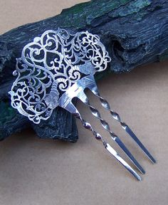 Late Victorian Hair Comb Sterling Silver Finely Pierced Hair Accessory Hair Pin Hair Pick Hair Jewelry Decorative Comb Headdress