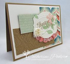 Made this for the Mojo Monday challenge.  http://catherinepooler.com/2013/07/venetian-romance-designer-series-paper-die-cut-and-embossed-video-tutorial/ #stampinup