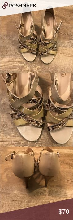 Coach Beige and Snake print Heels Open toe snake skin and beige Coach Heels. Clearly well loved, but still have A LOT of life left. Scuff in the front of shoes, and well worn soles. However, the straps and heel itself are in perfect condition. 3.5 inch heel. Coach Shoes Heels