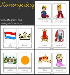 www.juf-lisanne.nl Woordkaarten thema koningsdag met schrijfletters