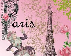 Paris Essence Cottage Design Fabric Block by VictorianRoseCottage