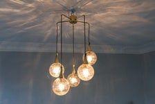 Wunderschone Kaskadenlampe Original 1960er 70er Jahre Deckenlampe Messing Kugel Glas Von Bankamp Vintage Mid Century Mid Century Lamp Pendant Light Vintage Lighting