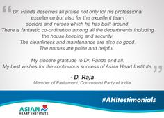 Shri D.Raja - Member of Parliament, shares his experience at #AsianHeartInstitute! #AHItestimonials