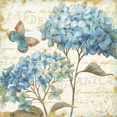 East Urban Home 'Blue Garden IV' Oil Painting Print on Wrapped Canvas Size: Decoupage Vintage, Vintage Paper, Canvas Art Prints, Painting Prints, Fine Art Prints, Decoupage Printables, Motif Floral, Canvas Frame, Canvas Size