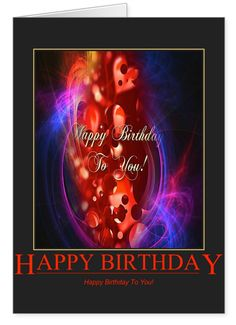 """Strong colours, strong feelings for this birthday card - red and black with lots of hearts! """"Happy Birthday to You!"""" This card comes to you with much love, you are very special to us"""