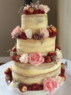 Naked lemon drizzle wedding cake