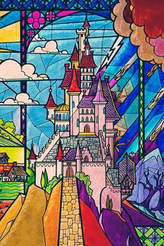 Beauty and the Beast castle / I always loved the opening scene with all the stained glass pictures