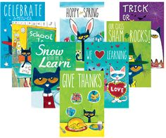 "Pete the Cat Holiday and Seasonal Poster Set - Pete the Cat makes celebrating seasons and holidays special! Bulletin board sets include eight 11-3/4"" x 17-1/2"" posters: Back-to-School, Thanksgiving, Halloween, Winter, Valentine's Day, St. Patrick's Day, Spring, and Patriotic."