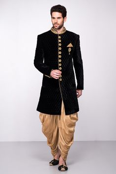 Wedding Dress Indo Western, Rent MFS Black Velvet Textured Sherwani With Golden Peshawari Salwar at Flyrobe Mens Indian Wear, Indian Groom Wear, Indian Men Fashion, Groom Fashion, Latest Fashion For Men, Wedding Dresses Men Indian, Wedding Dress Men, Indian Weddings, Wedding Men