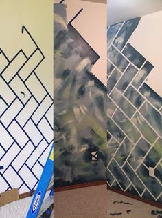 Abstract wall with herringbone bricks 1. Paint base 2. Tape off bricks 3. Go Paint Crazy 4. Peel off painters tape 5. Voilà
