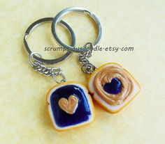 ScrumptiousDoodle on Etsy: polymer clay peanut butter and jelly grape heart key chains (too cute! She sells everything from clay cake to cheeseburgers!)
