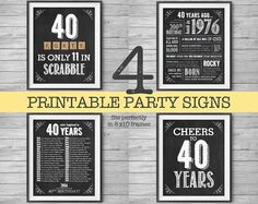 40th #Birthday Printable Party Decor 4 Unique 8x10 Signs by #NviteCP