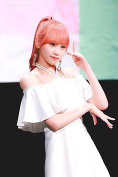 Photo album containing 6 pictures of Chaewon Kpop Girl Groups, Kpop Girls, Ponytail Girl, Rose Colored Glasses, Yu Jin, Japanese Girl Group, Kim Min, Female Singers, Pink Hair