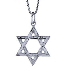 """Sterling Silver Diamond Cut """"""""Star of David"""""""" Pendant with Chain on Foffer"""