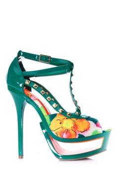 Floral Contrast Studded Heels
