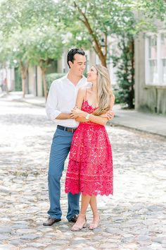 Gorgeous engagement shoot shot by Aaron & Jillian Photography. Want this look? Check out the blog for more of their fabulous photos downtown Charleston SC.  http://www.macandbevents.com/#!Nahila-Bernard-Engagement-Photos/c24tz/579a2d080cf233f0ee8a1ef4