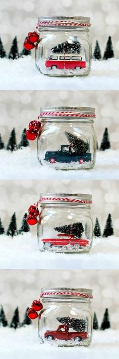 Mason Jar Snow Globes: Vintage Cars & Trucks by angela