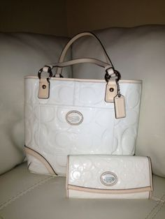 Authentic Coach Embossed Glossy Patent Leather Bag And Glossy Envelope Wallet.