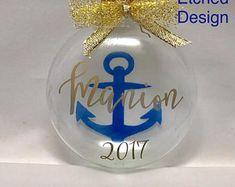 Nautical ornament | Etsy Nautical Christmas, Snow Globes, Christmas Bulbs, Holiday Decor, Gifts, Handmade, Etsy, Design, Favors