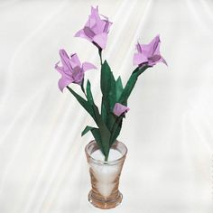 """Origami Iris Laevigata"" - 20 folded elements (origami flower & foliage) - Worldwide Delivery  - $39.99"