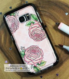 "Roses Phone Case by Allison Cope featuring ""My English Rose"" stamp set by Power Poppy"