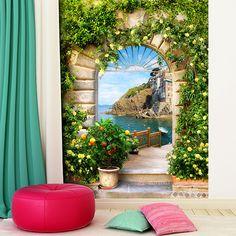 Fotomurale arco verso il villaggio mediterraneo #fotomurale #mural #parede #muro #decorazione #deco #StickersMurali #mar