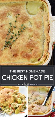 The BEST Homemade Chicken Pot Pie,Make The BEST Homemade Chicken Pot Pie for Mother's Day dinner! This recipe is surprisingly easy to throw together. A flaky butter pie crust is loaded. Chicken Pot Pie Crust, Chicken Pot Pie Casserole, Best Chicken Pot Pie, Casserole Recipes, Easy Pot Pie Crust Recipe, Hamburger Casserole, Cheesy Chicken, Homemade Chicken Pot Pie, Pillsbury Chicken Pot Pie Recipe