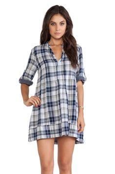 CP SHADES Regina Plaid Tunic Dress in Blue