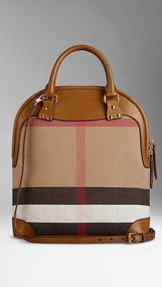 b73f7ad4f602 The Medium Bloomsbury in Canvas Check and Leather