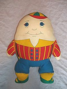 Vintage 2 Sided Cloth Humpty Dumpty Doll Pillow Before and After Fall   eBay