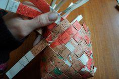 Tutorial Ifall ni blir lika sugna på att fläta korgar som jag får ni här en puff i korgens riktning. 1. När man flätar i papper är det bra att vika pappret dubbelt eller fyrdubbelt för att få tillräckligt mycket stabilitet i korgen. Klipp remsor och vik på mitten (för dubbelt papper) och vik in kanterna mot mitten igen (för fyrdubbelt papper). I korgarna som jag flätat så är remsorna mellan 1-2 cm breda. Det är viktigt att vara noga när man klipper och viker remsorna eftersom noggran
