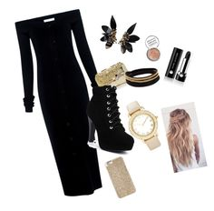 """""""Black and Gold"""" by ilovekod-md on Polyvore featuring TIBI, Anndra Neen, Chico's, Marni, Vita Fede, Obsessive Compulsive Cosmetics, Marc Jacobs and Michael Kors"""
