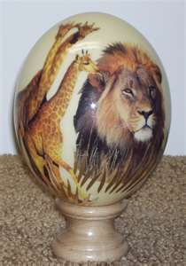 Wow! Hand decorated on an ostrich egg.