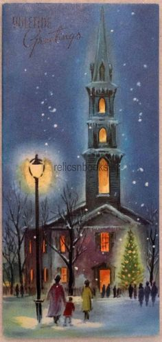 #775 50s Family Walks to Midnight Service, Vintage Christmas Card-Greeting