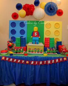 Fun Lego boy birthday party dessert table!  See more party planning ideas at CatchMyParty.com!