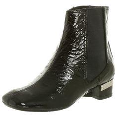 Apepazza Women's Evy Bootie, Black Patent Leather 60s Mod Go Go Beatle Boot