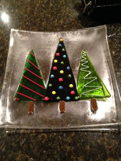 Fused glass tree plate