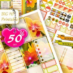 50% SALE Orchids BIG Happy Planner Stickers Weekly kits Yellow Orange Happy Planner Printable Floral Stickers Large Vertical Happy Planner