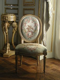 Carved and gilded beech side chair with silk moire upholstery by Jean-Jacques Pothier [French], c. 1775